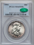 Franklin Half Dollars: , 1954 50C MS65 Full Bell Lines PCGS. CAC. PCGS Population (1064/81).NGC Census: (236/11). Numismedia Wsl. Price for proble...