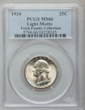 Washington Quarters: , 1934 25C Light Motto MS66 PCGS. Ex: Teich Family Collection. PCGSPopulation (113/6). NGC Census: (21/1). Mintage: 31,912,0...