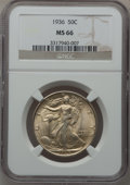 Walking Liberty Half Dollars: , 1936 50C MS66 NGC. NGC Census: (573/105). PCGS Population(791/130). Mintage: 12,617,901. Numismedia Wsl. Price forproblem...