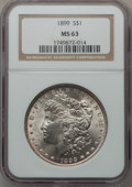 Morgan Dollars: , 1899 $1 MS63 NGC. NGC Census: (2576/3490). PCGS Population(3555/4983). Mintage: 330,846. Numismedia Wsl. Price for problem...