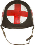 Militaria:Helmets, U.S. WWII Fixed Bale M1 Combat Helmet Painted in MedicConfiguration....