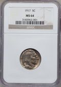 Buffalo Nickels: , 1917 5C MS64 NGC. NGC Census: (349/177). PCGS Population (510/434).Mintage: 51,424,019. Numismedia Wsl. Price for problem ...