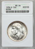 Commemorative Silver: , BOONE 50C 1936-D MS64 ANACS. NGC Census: (194/590). PCGS Population(407/798). Mintage: 5,005. Numismedia Wsl. Price for pr...