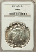 Modern Bullion Coins: , 1987 $1 Silver Eagle MS69 NGC. NGC Census: (86401/352). PCGSPopulation (6530/10). Numismedia Wsl. Price for problem free ...