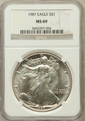 Modern Bullion Coins, 1987 $1 Sliver Eagle MS69 NGC. NGC Census: (86401/352). PCGSPopulation (6530/10). Numismedia Wsl. Price for problem free ...