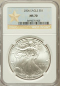 Modern Bullion Coins, 2006 $1 Silver Eagle West Point MS70 NGC. NGC Census: (3857). PCGSPopulation (502). Numismedia Wsl. Price for problem fre...