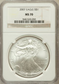 Modern Bullion Coins, 2007 $1 Silver Eagle MS70 NGC. NGC Census: (5183). PCGS Population(603). Numismedia Wsl. Price for problem free NGC/PCGS ...