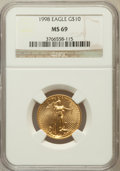 Modern Bullion Coins: , 1998 $10 1/4 Oz Gold Eagle MS69 NGC. NGC Census: (574/19). PCGSPopulation (692/17). Numismedia Wsl. Price for problem fre...