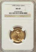 Modern Bullion Coins, 1999 $10 Quarter-Ounce Gold Eagle MS69 NGC. NGC Census: (981/73).PCGS Population (1177/11). Numismedia Wsl. Price for pro...