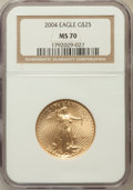Modern Bullion Coins, 2004 G$25 1/2 Oz Gold Eagle MS70 NGC. NGC Census: (2619). PCGSPopulation (873). Numismedia Wsl. Price for problem free NG...