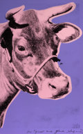 Prints, ANDY WARHOL (American, 1928-1987). Cow, 1976. Screenprint on wallpaper. 45-1/2 x 29-3/4 inches (115.6 x 75.6 cm). Signed...