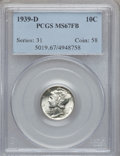 Mercury Dimes: , 1939-D 10C MS67 Full Bands PCGS. PCGS Population (523/88). NGCCensus: (455/31). Mintage: 24,394,000. Numismedia Wsl. Price...