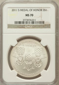Modern Issues, 2011-S $1 Medal of Honor MS70 NGC. NGC Census: (321). PCGSPopulation (125). Numismedia Wsl. Price for problem free NGC/PC...