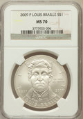 Modern Issues, 2009-P $1 Braille MS70 NGC. NGC Census: (1505). PCGS Population(465). Numismedia Wsl. Price for problem free NGC/PCGS coi...