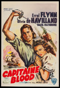 "Movie Posters:Adventure, Captain Blood (Warner Brothers, R-1950s). Belgian (14"" X 18.5"").Adventure.. ..."