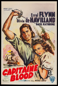 "Captain Blood (Warner Brothers, R-1950s). Belgian (14"" X 18.5""). Adventure"