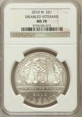 Modern Issues, 2010-W $1 Disabled Veterans MS70 NGC. NGC Census: (3229). PCGSPopulation (1441). Numismedia Wsl. Price for problem free N...