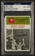 Autographs:Sports Cards, Signed 1961 Fleer Jerry West IA #66 PSA/DNA NM-MT 8. ...