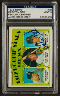Signed 1972 Topps Carlton Fisk Rookie #79 PSA/DNA Mint 9
