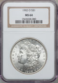 Morgan Dollars: , 1902-O $1 MS64 NGC. NGC Census: (27314/6889). PCGS Population(19869/4643). Mintage: 8,636,000. Numismedia Wsl. Price for p...