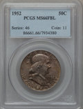 Franklin Half Dollars: , 1952 50C MS66 Full Bell Lines PCGS. PCGS Population (257/8). NGCCensus: (90/4). Numismedia Wsl. Price for problem free NG...