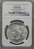 Peace Dollars, 1934-S $1 -- Reverse Scratched -- NGC Details. XF. NGC Census:(178/2469). PCGS Population (320/3493). Mintage: 1,011,000. ...
