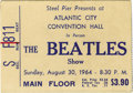 Music Memorabilia:Tickets, Beatles Atlantic City 1964 Ticket Stub. A white ticket stub formain floor seating at the Beatles' August 30, 1964 concert a...(Total: 1 Item)