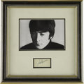 "Music Memorabilia:Autographs and Signed Items, John Lennon Framed Autograph. A rare 3"" x 2"" signature cutting fromthe late Beatle in black ballpoint. In Excellent conditi... (Total:1 Item)"