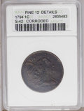 1794 1C Head of 1795 F12 ANACS. NGC Census: (27/407). PCGS Population (24/352). Mintage: 918,521. Numismedia Wsl. Price:...