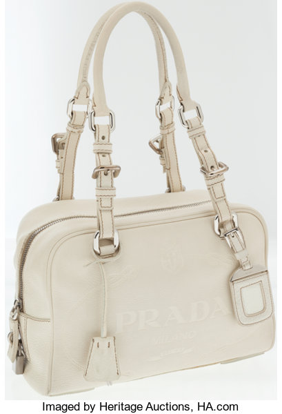 706fe9cba7 ... spain luxury accessoriesbags prada cream leather shoulder bag with  large embossed logo. 268f8 78990