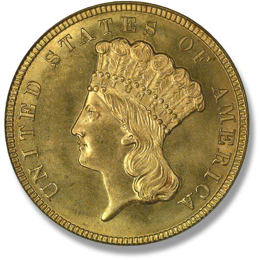 Three Dollar Gold Piece. 1854-1889