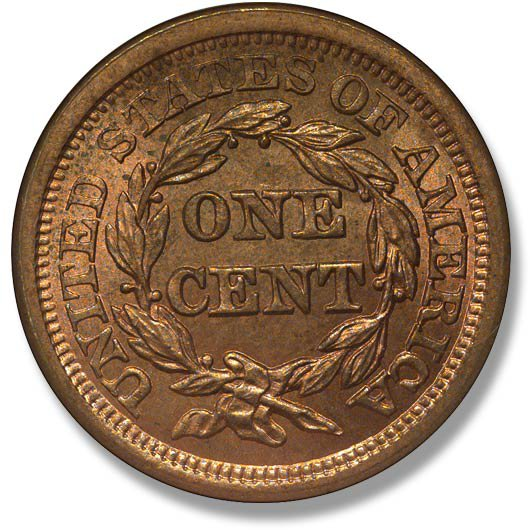 Coronet.  Fifth obverse design. Large letter reverse. 1843-1857