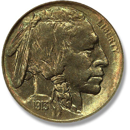 Indian Head. FIVE CENTS on raised ground. 1913