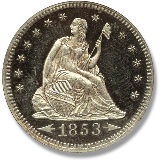 Liberty Seated. No Motto. Arrowheads and Rays. 1853