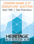 2016 April 19 Domain Names & Intellectual Property Signature Auction - San Francisco