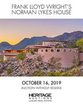 Catalog cover for 2019 October 16 Frank Lloyd Wright's Norman Lykes House Signature Auction - Dallas