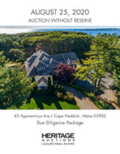 Catalog cover for 2020 August 25 Cape Neddick, Maine Real Estate Signature Auction - Dallas