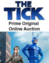 Catalog cover for 2020 May 27 THE TICK PRIME ORIGINAL, an exclusive auction of props & costumes, presented by ScreenBid and Heritage Comics Online Auction