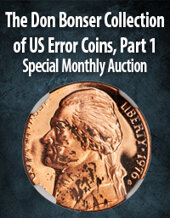 Catalog cover for 2020 November 6 The Don Bonser Collection of United States Error Coins, Part 1 US Coins Special Monthly Auction