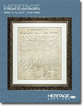Catalog cover for 2012 April 11-12 Historical Manuscripts Signature Auction - New York