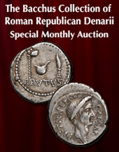 Catalog cover for 2020 October 25 The Bacchus Collection of Roman Republican Denarii Special Monthly Online Auction