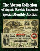 Catalog cover for 2020 July 31 Aberon Collection of Virginia Obsolete Banknotes Online Auction