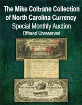 Catalog cover for 2020 November 29 The Mike Coltrane Collection of North Carolina Currency Special Online Auction