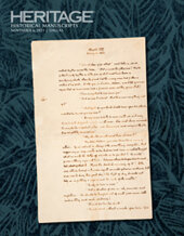 Catalog cover for 2021 November 6 Historical Manuscripts Signature® Auction