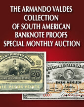 Catalog cover for 2020 May 31 The Armando Valdes Collection of South American Banknote Proofs Online Auction