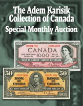 Catalog cover for 2020 August 31 The Adem Karisik Collection of Canada World Paper Money Online Auction