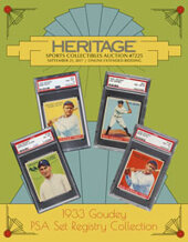Catalog cover for 2017 September 21 1933 Goudey PSA Set Registry Sports Collectibles Catalog Auction - Dallas