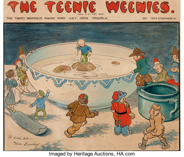 William Donahey The Teenie Weenies Hand Colored Sunday Comic Strip Original (Chicago Tribune - NY News Syndicate, undated).