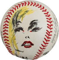 1992 Joe DiMaggio Signed Marilyn Monroe Original Baseball Artwork by LeRoy Neiman
