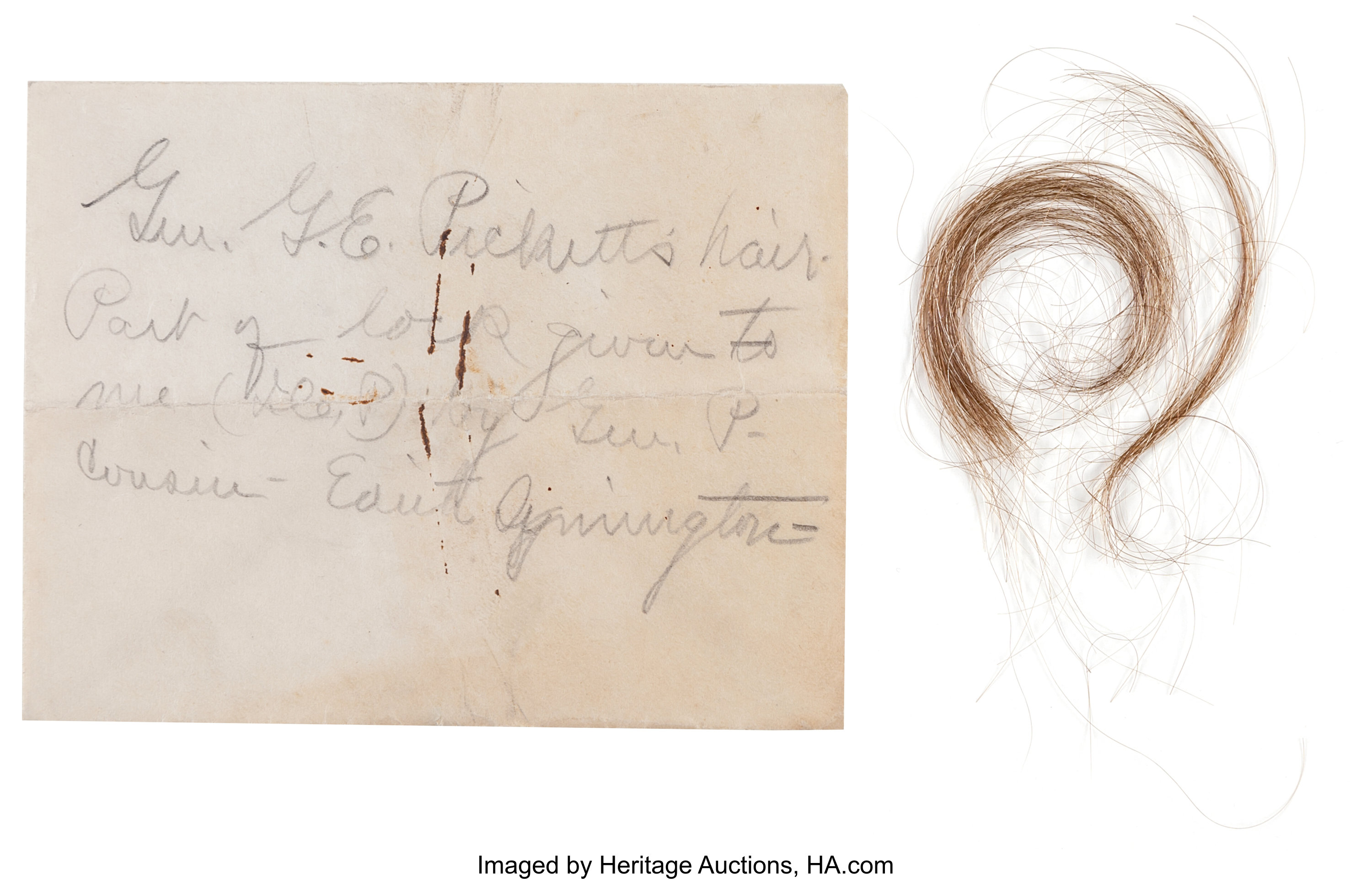 [George E. Pickett]. Lock of General George E. Pickett's Hair